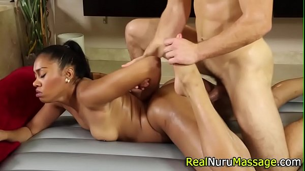 Ebony masseuse banged
