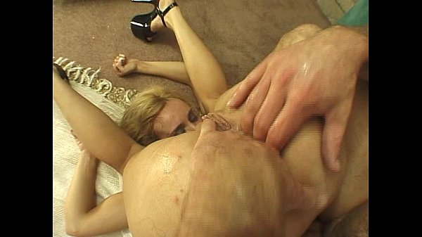 Dildo deep in blonde ass and cock
