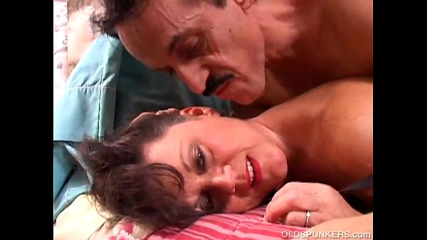 Dirty old spunker in sexy fishnet stockings is a super hot fuck