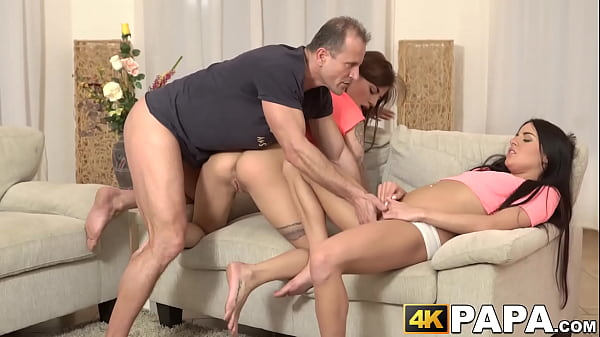 Two kinky babes get owned by older man and experienced cock