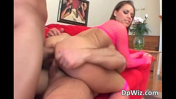 Sexy brunette trashy babe double teamed