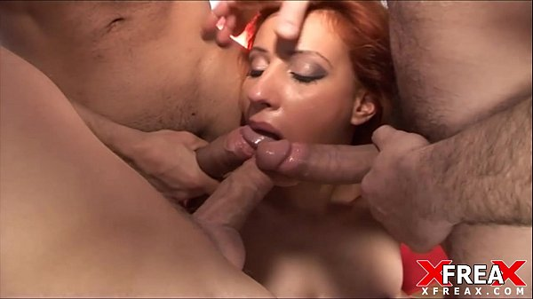 Gang Bang and double penetration for incredible redhead