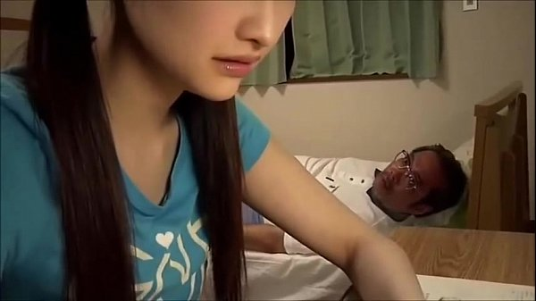Japanese school girl blows old teacher