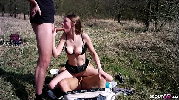 ANOREXIC GERMAN TEEN in Real MMF Threesome Outdoor in Park Thumb