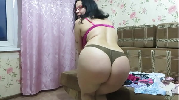 How many panties will fit in my shaved pussy? A busty milf inserts a thong into a vagina, then tries on different panties and twirls a juicy PAWG. Homemade fetish.