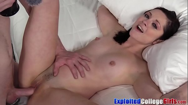 College babe Petra sprayed by cum after casting fuck