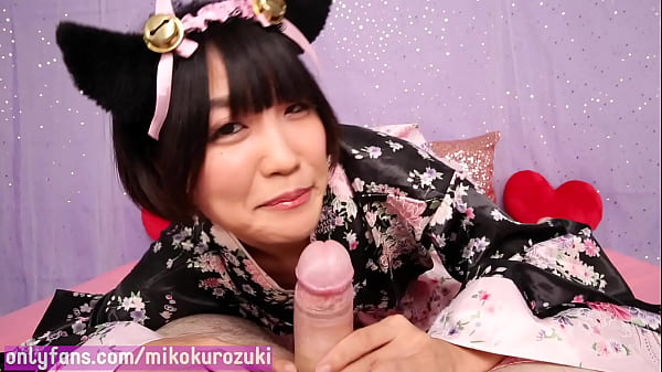 Japanese Neko Girl Miko Kurozuki Drinks her Master's Milk after Sloppy Blowjob (Trailer)