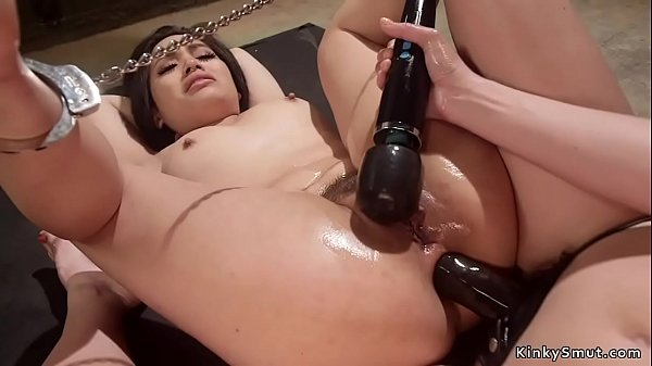 Chained legs babe anal strap on fucked