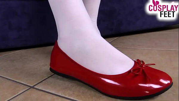 Horny nurse in stockings plays with her shoes and feet Thumb