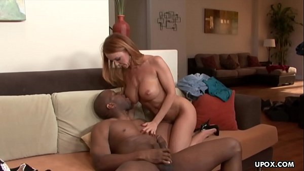 Experienced, red haired fuck doll, Janet Mason sucks black cock