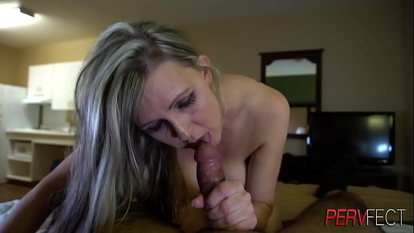 Milfy struggles to fit cock in her throat. Takes huge load of cum to the tits and face
