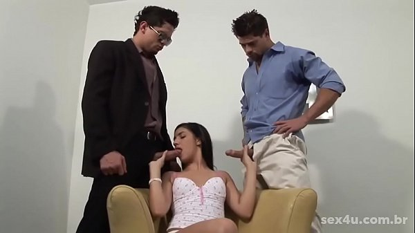 For those who like nymphet. Rafaela Christine fucking with two gods actors of brazilian porn