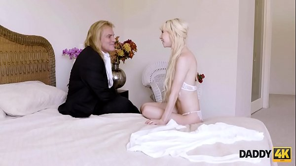 DADDY4K. Teen in white dress gives her pussy to old male Thumb