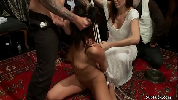 Slave fisted and fucked at public party