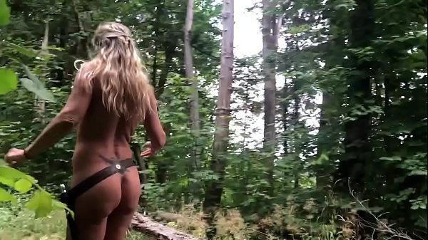 Jess Explores Public wooded Island Nude