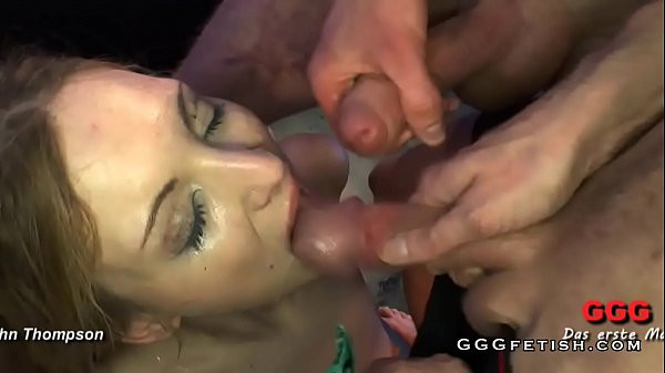 Blonde chick is surrounded by a big cocks