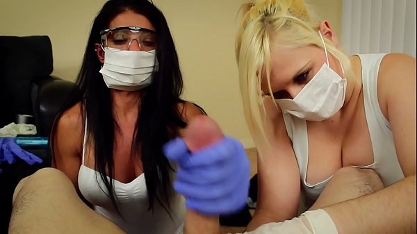 POV Double handjob Alexis Rain and Fifi Foxx dental assistants mask and gloves Thumb