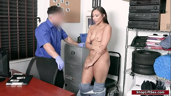 Ebony thief fucked on officers table