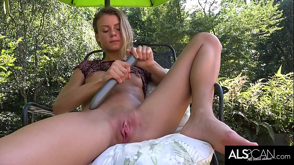 Tiny Tits Brunette Strokes Her Pussy with Long Vibrator