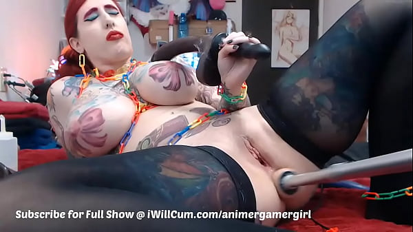 Goth PAWG With Huge Tits and Ass Squirts and Creams All Over Machine Dick Thumb