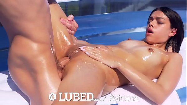 LUBED Slippery spinner FUCKED in blown up pool