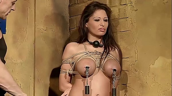 Busty woman Alison Star, tied up and gets BDSM...