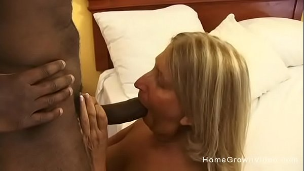 Old busty blonde slut ass fucked by a big black...