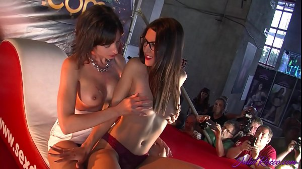 Two girls from the public fucked by Carolina Abril