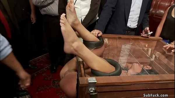 Petite slave is fucked in public party Thumb