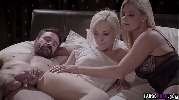 Elsa Jean is excited to meet her new foster parents.They help her in all means including her sexual needs and let her join them in a 3some fuck.