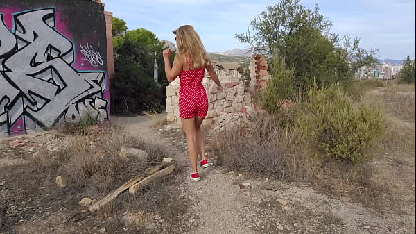 Horny MILF with small tits and perfect ass fucking in an abandoned building. REAL POV OUTDOOR FUCK(Full video - RED)
