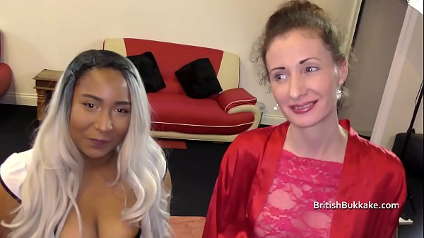 Nervous mid 40's first bukkake with y. black lady