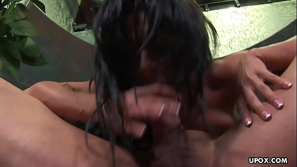 Cock hungry brunette Sandra Romain swallows a thick long sword