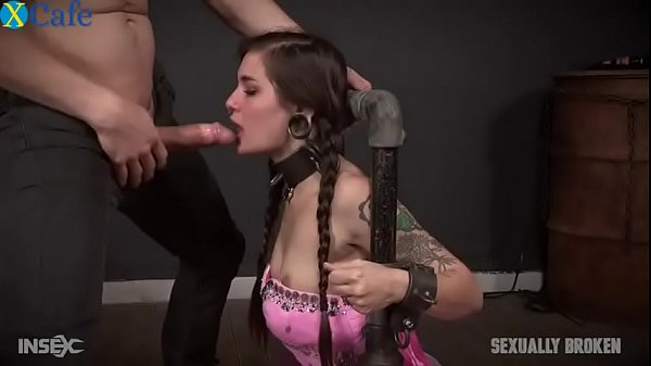 Restrained whore in princess outfit throatfucke...