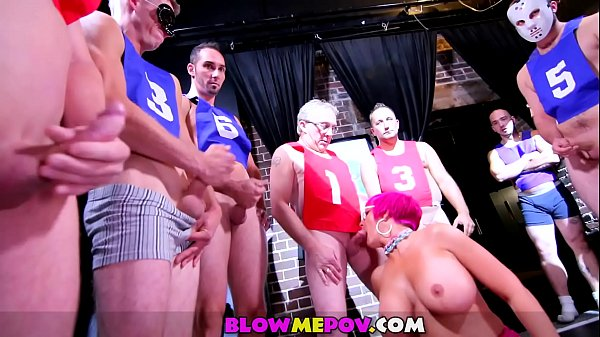 Blow Me POV -A Nasty Milf with Giant Tits and 11 Guys in Huge Blowbang Bukkake