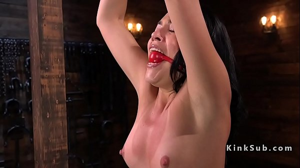 Gagged babe electro shocked and whipped