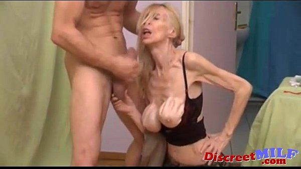 Anorexic skinny wrinkled milf playing with rabbit vibrator - 1 part 3
