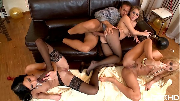 Body sushi New Year's Eve orgy with Abbie Cat & Aleska Diamond & Kitty Cat