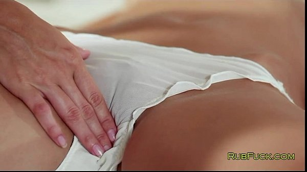Blonde masseur fingers brunette customer Thumb