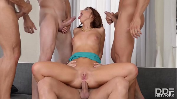 Gangbang with busty hot babe Tina Hot makes 4 studs cum all over her Thumb