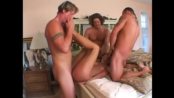 Cute brunette with perky tits Sandra Romain gets three dicks in her fuckholes and cumload finale