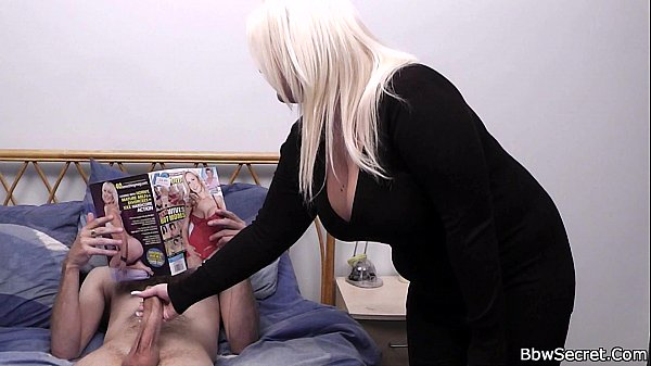 Hottest blonde BBW helps him cum