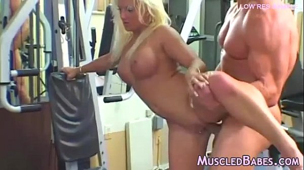 Blonde fitness freak fucks two guys