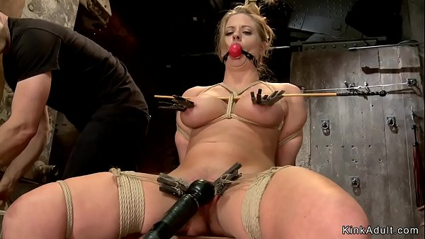 Busty blonde Milf is toyed on hogtie