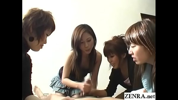 CFNM handjob with cumshot by group of Japanese ...