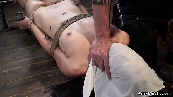 Tiny tits slave is toyed on hogtie