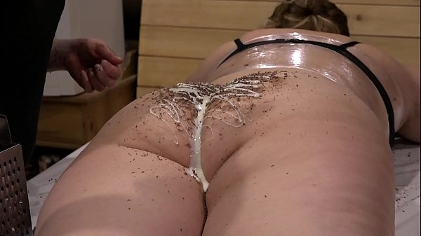 Unusual lesbian fetish with food and anal. Girlfriends with big asses and hairy pussy have fun on the table.