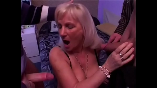 Nasty mature blonde auntie Ester decided to do something for the sake of the good old days enjoy spittting roast with couple of young well hung studs