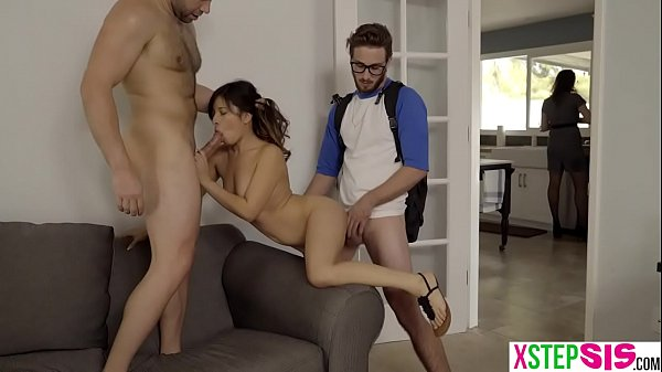 Latina stepdaughter treated like a slut by dad and bro
