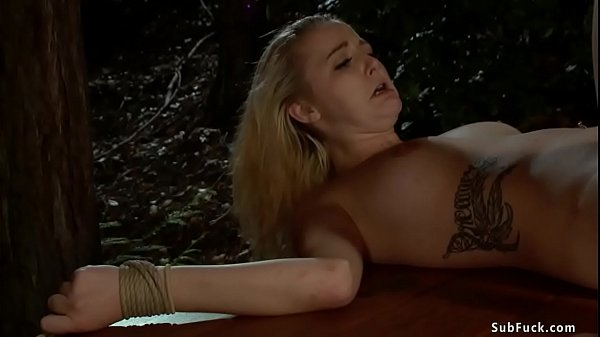 Bound blondes banged in woods Thumb
